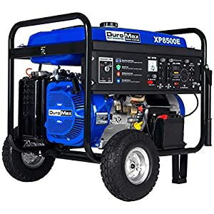 DuroMax XP8500E Gas Powered Portable Generator, Blue and Black