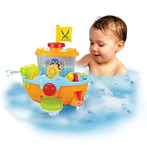 Cardboard Boat Costume (Sealive Bath Time Toys Pirate Ship For Toddlers Kids with Water Cannon and Boat Scoopfor(sand and water playsets),6 months u p)