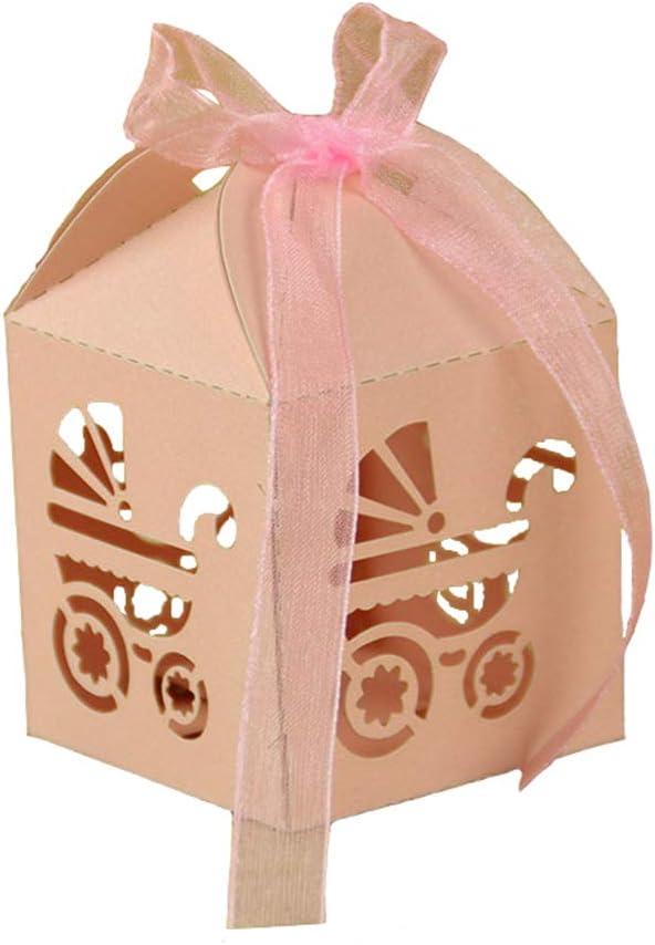 Lance Home Cajas del Caramelo de la Ducha de Bebé, 50 pcs Elefante Coche de Regalo Caja de Regalo Bautizo Fiesta de Bienvenida al Bebé Favores (Rosa) (Carro de Bébé Rosa)