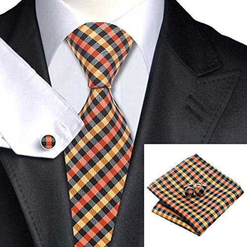 SN-1009 Black Orange Yellow Plaid Tie Hanky Cufflinks Sets