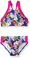 Tommy Bahama Girls' Big 2-Piece Ruffle Trim Bikini Swimsuit, Aloha Floral, 16