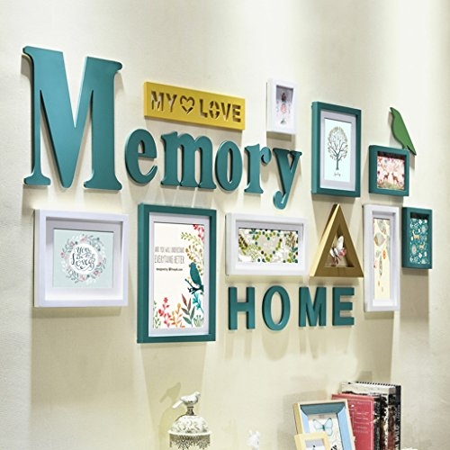 Home@Wall photo frame Solid Wood Photo Wall, Living Room Bedroom Frame Wall Corridor Decoration Art Combination Photo Wall Sets Of 12 ( Color : B ) by ZGP