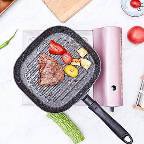 PINGDAGUO Poêle à Frire Aluminium carré antiadhésif Barbecue Steak poêle poêle Multi-usages Flocon de Neige Rayures sans Huile fumée poêle à Frire 9 Pouces