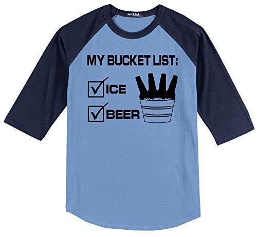 Comical Shirt Men's My Bucket List Funny Beer Shirt Carolina Blue/Navy L