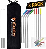 iCooker 8 Pack Reusable Stainless Steel Straws with Colorful Silicon Tips & Carry Bag Ultra Long 10.5 Inch Drinking Metal Straw