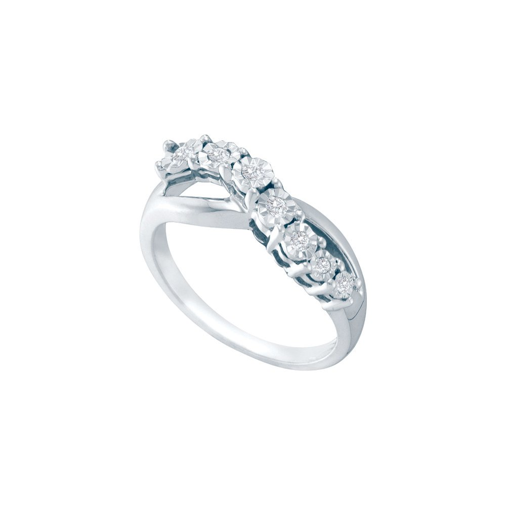 Sterling Silver Womens Round Diamond Band Ring 1/8 Cttw (I3 clarity; G-H color)