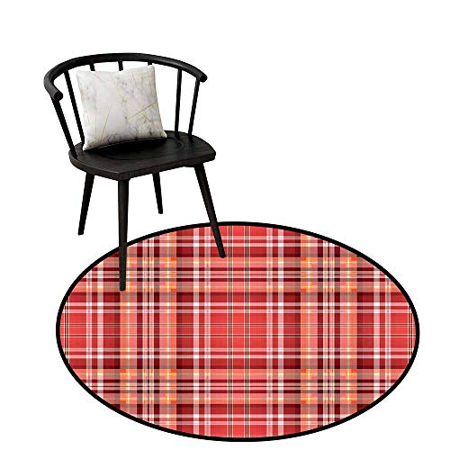 Round Area Rug Carpet Checkered,Red Pink Orange Checkered Pattern with White Lines Cells Graphic,Dark Coral Orange White,Circular Carpet Bedroom A Living Room Desk Seat Cushion Carpet 20