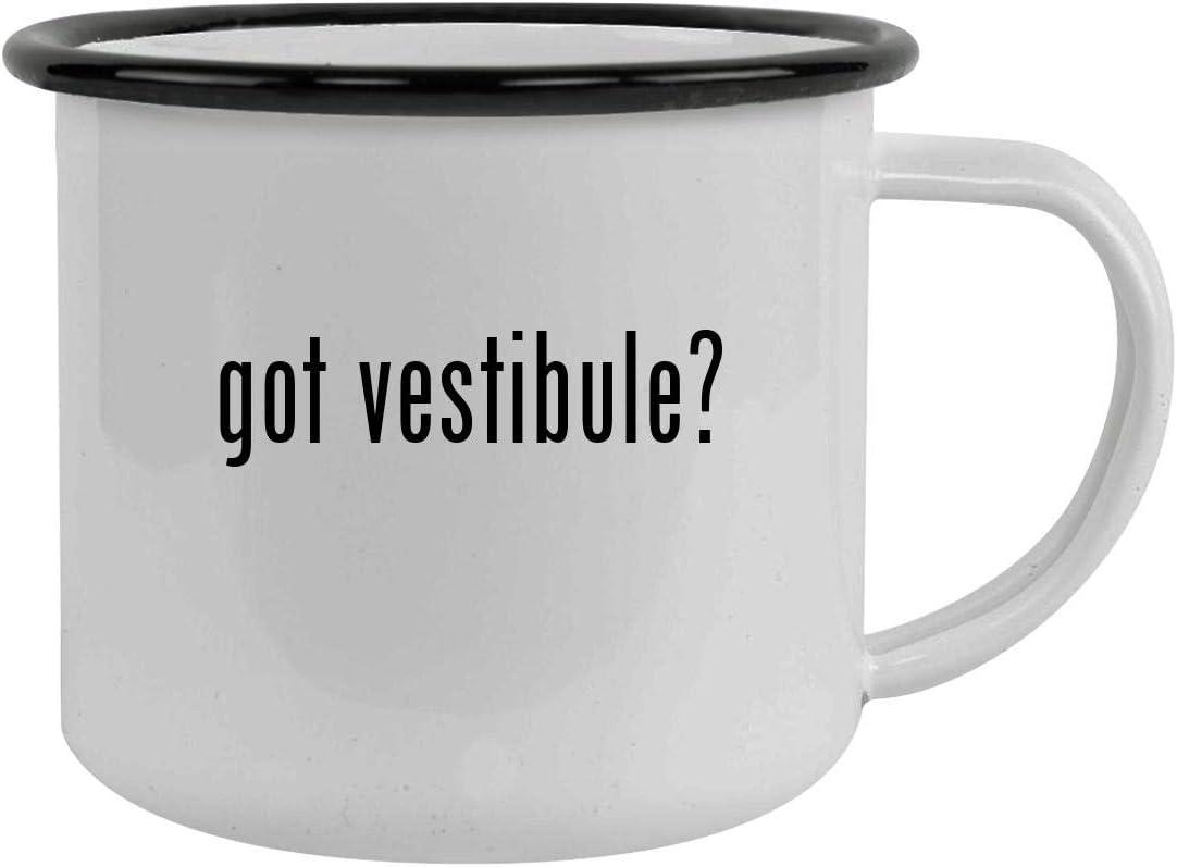 got vestibule? - Sturdy 12oz Stainless Steel Camping Mug, Black