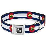 "Buckle-Down 15-26"" Colorado Flag/Marijuana Leaf Dog Collar Bone, Large"