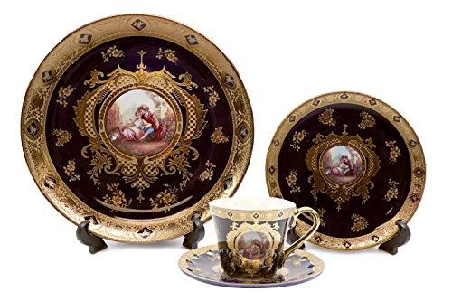 Royalty Porcelain 16-pc Cobalt Blue Dinner Set 'Second Date', Unique Dishware
