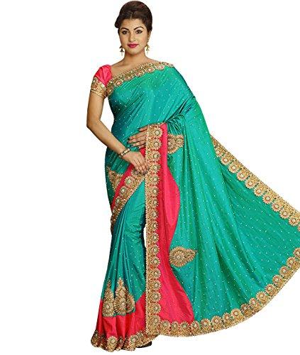 Sea Green Georgette Top (Indian Ethnic Art Silk Sea Green Fancy Saree)