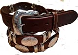the Duke belt with silver conchos wraped in raw hide and silver fits 53 to 58
