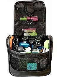 WAYFARER SUPPLY Toiletry Bag. Pack-it-flat Hanging Travel Kit, Black