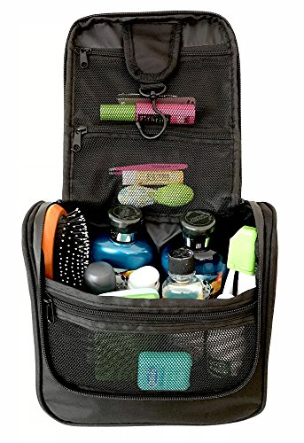 Essentials Bag - WAYFARER SUPPLY Hanging Toiletry Bag: Pack-it-flat Travel Kit, Black