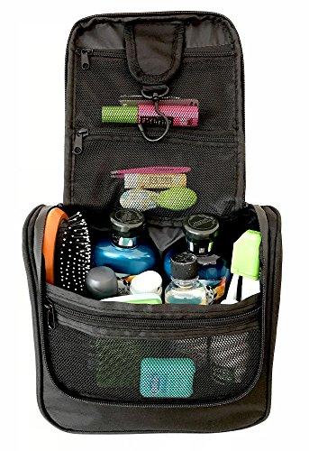 WAYFARER SUPPLY Hanging Toiletry Bag: Pack-it-flat Travel Kit, Black by Wayfarer Supply Co.
