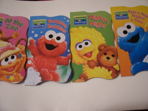 (Sesame Beginnings Shaped Educational Board Books Complete Set ~ At the Zoo, Bubbles Bubbles, Eyes Nose Fingers and Toes, and Nighty-Night (2008))