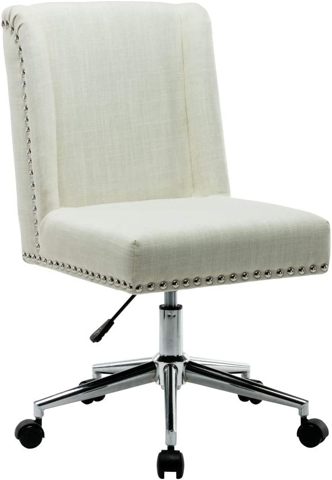 Porthos Home Office Chair With Fabric upholstery Studded Design, One Size, Cream