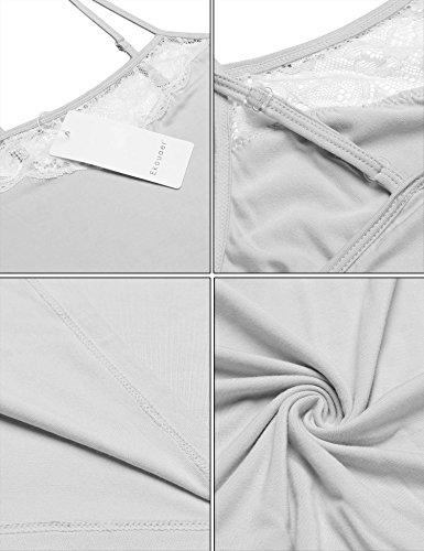 Ekouaer Women Pajamas Sexy Short Sets Lace Camisole Lingerie Sleepwear (Grey, L) by Ekouaer (Image #4)