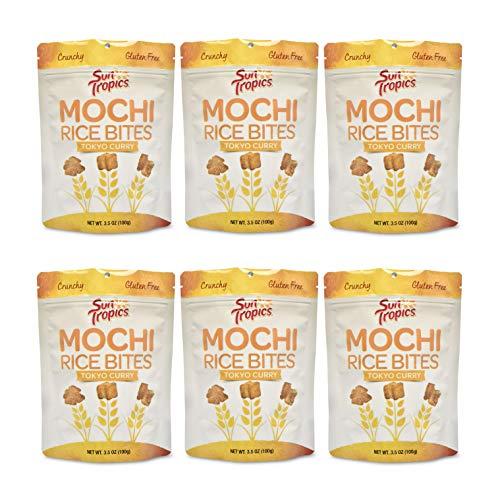 Sun Tropics Mochi Rice Bties, Tokyo Curry, 3.5 oz, 6 Count, Gluten Free, Vegan, No MSG Added, Crunchy Snack