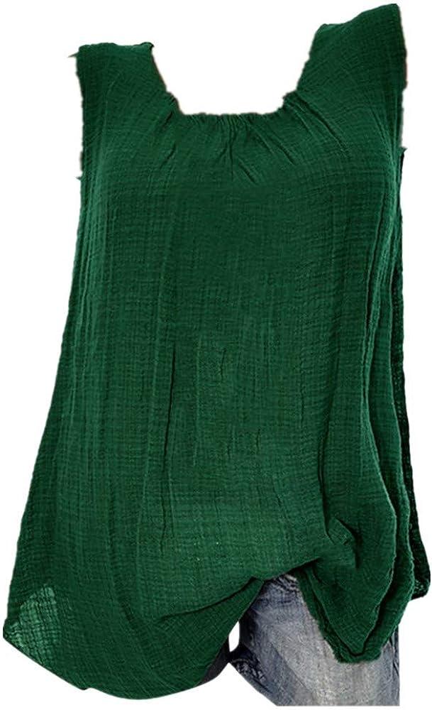 Longra T-Shirt Senza Maniche Canotta Gilet Canottiera di Lino Comodo E Traspirante Camicetta da Donna Estive Manica Corte Maglietta Vestito Corto Casual Taglie Forti