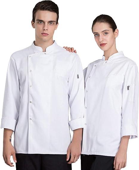 XRRa&XF Mujeres Hombre Verano Manga Larga Camisa de Cocinero Transpirable Chaquetas de Chef Uniforme Cocina Restaurante Occidental,Blanco,L: Amazon.es: Deportes y aire libre