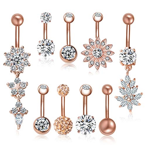 JDXN 6-8PCS 14G Stainless Steel Belly Button Rings CZ Pineapple Dangling Dangle Navel Ring Body Piercing (9 PCS/Set Rose Gold) Butterfly Gold Belly Button Ring