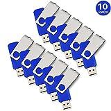 KEXIN 10pcs 1GB USB Flash Drive USB2.0 Flash Drive Bulk Pack Memory Stick Blue