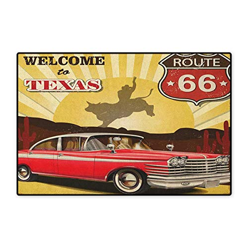 Vintage,Door Mat Outside,Welcome to Texas Signboard Poster with Cadillac Art Car Cowboys Town Rodeo Design,Customize Door Mats for Home Mat,Multicolor,Size,16