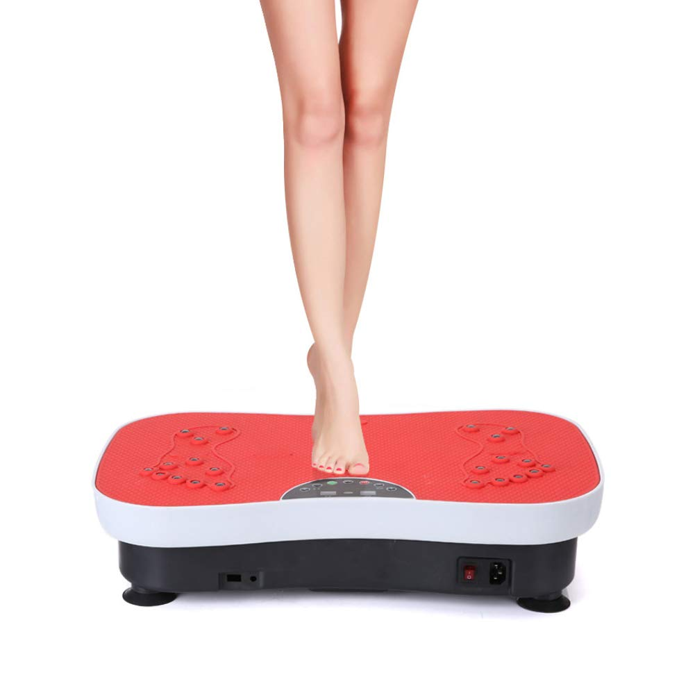 Vibration Platform Machines Fitness Body Shape Exercise Machine with Vibration Plate and Remote Control,Red