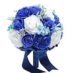Topbridal Handmade Bridal Hold Artificial Flowers Royal Blue Wedding Bouquet 94