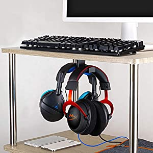 Brainwavz BigT Under Desk Headphone Stand Mount Holder, for Gaming, Music, Mobile Headsets Hanger, No Screws (Black) (Color: Black)