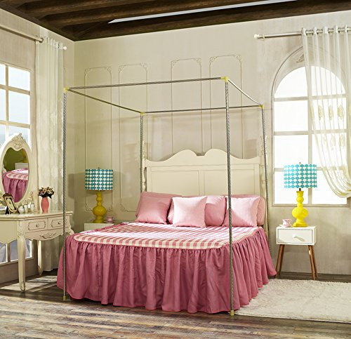 Stainless Steel Canopy Bed Frame, Four Corners, Queen Size