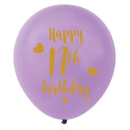 Purple 17th Birthday Latex Balloons 12inch 16pcs Girl Gold Happy Party