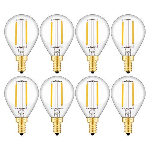 WUHOSTAM 2W Dimmable LED Globe Filament Bulb 2700K Warm White 200 Lumens,20W Incandescent Equivalent, E12 Candelabra Base Lamp,G45 Clear Glass Globe Shape,8 Pack