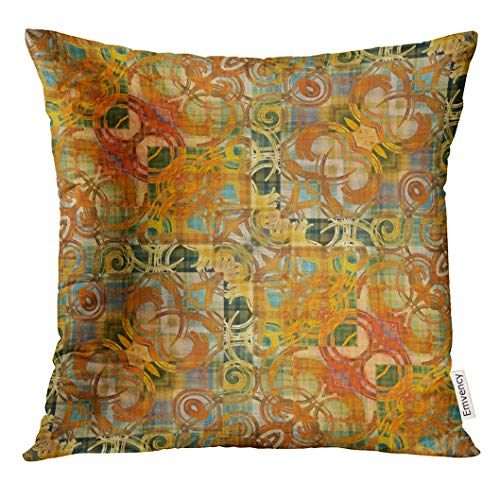 (UPOOS Throw Pillow Cover Batik Ornamental Vintage Pattern in Orange Old Gold and Grey Green Colors Nouveau Abstract Decorative Pillow Case Home Decor Square 18x18 Inches)