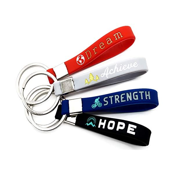 (12-Pack) Inspirational Quote Keychains – Dream, Achieve, Strength, Hope – Wholesale Bulk Pack of 1 Dozen Silicone Rubber Key Rings with Motivational Quotes – Party Favors Gifts for Adults Men Women 51gU2zxME9L