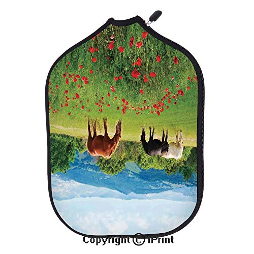 Soft Neoprene Pickleball Paddle Cover Zipper Sleeve Protective Case,Various Kinds of Horses Eating Grass in the Field with Mountain Landscape Rural Scene Print(size:8.23