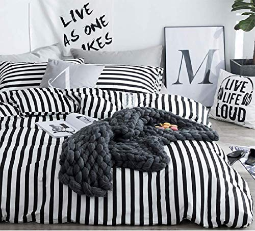 Wellboo Black White Striped Duvet Cover Cotton Queen Hotel Collection Dobby Comforter Sets Women Men Teens Bedding Sets Vertical Striped Soft Breathable 3 Pieces No Comforter