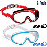 Yizerel 2 Pack Kids Swim Goggles, Swimming Glasses for Children and Early Teens from 3 to 15 Years Old, Wide Vision, Anti-Fog, Waterproof, UV Protection(red/Black & White/Blue, Pack of 2)