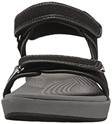 Clarks Women\'s Brizo Sammie Flat Sandal, Black Perforated Microfiber, 8 M US