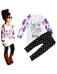 Susenstone Toddler Baby Girl Long Sleeve Print T-shirt Tops+Pants Outfits