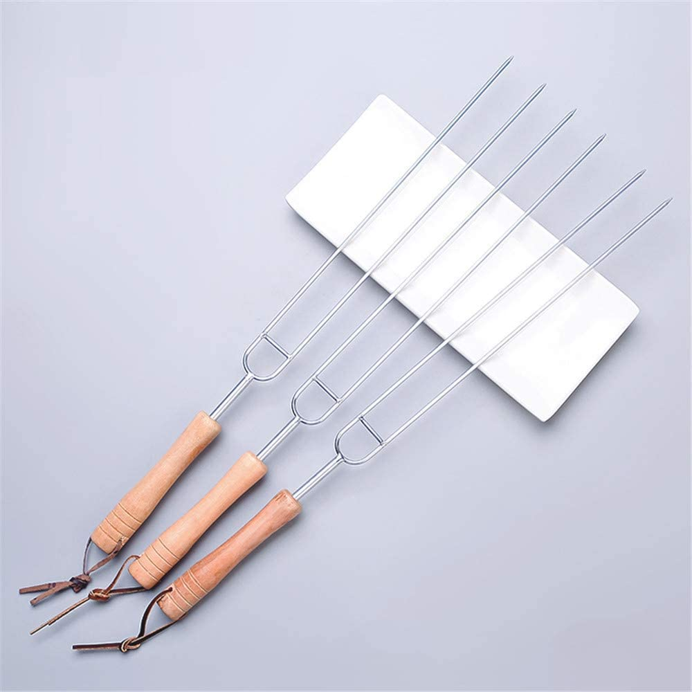 WXQ-XQ Roasting Forks barbecue Sign Stainless Steel U-Type Roast Needle Chicken Wing Fork Lamb Kebab Iron Shank Wood Shank Baking Needle Home Accessories Tool