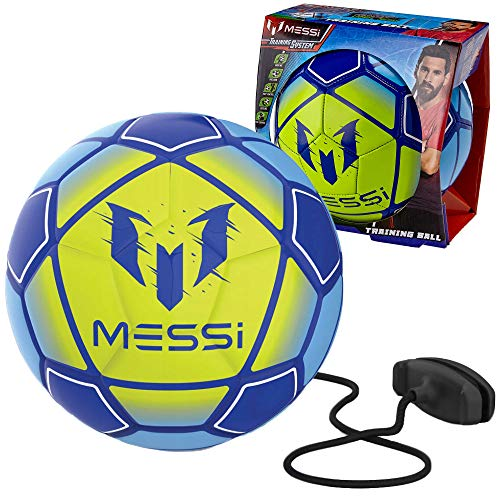 Messi Training System Kids Training Soccer Ball - Size 3 Youth Smart Football with Tether for Juggling, Foot Control, Kicking Practice - Adjustable Cord - Outdoor Soccer Equipment, Yellow