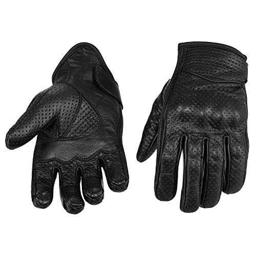 NEW PRODUCT Viking Cycle Men's Premium Leather Perforated Motorcycle Cruiser Gloves (Large)