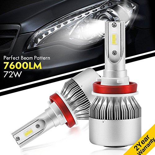 YUMSEEN Upgraded LED Headlight Kit Perfect Beam Pattern Bulbs - H11 (H8, H9) - 72w 7,600Lm 6K Cool White Philips Chips - 2 Yr Warranty (H11(H8,H9))