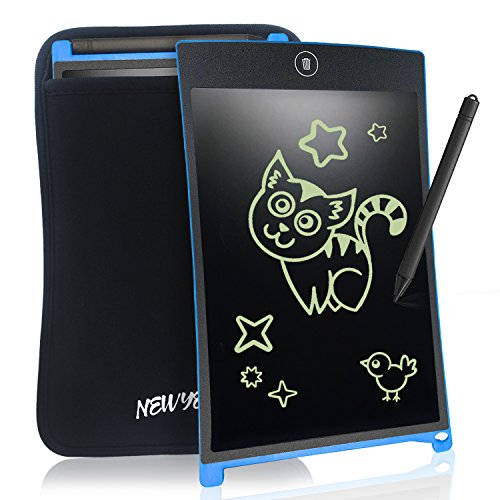 LCD Writing Tablet Graphics Tablet - NEWYES NYWT085 - 8.5 Inch Magnetic Board Fridge Office Memo Boards White Board Lcd Notepad, including Sleeve case and Magnet, 30 days Money Back Gaurantee(Blue)