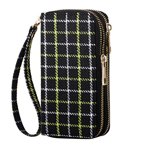 HAWEE Cellphone Wallet Dual Zipper Wristlet Purse with Credit Card Case/Coin Pouch/Smart Phone Pocket Soft Leather for Women or Lady, Yellow-white Checker
