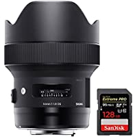 Sigma 14mm F1.8 DG HSM Art Wide Angle Full Frame Lens for Nikon F Mount Camera (450955) + Sandisk Extreme PRO SDXC 128GB UHS-1 Memory Card