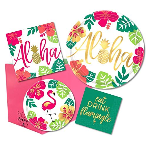 Flamingo Pineapple Aloha Hawaiian Party Pack of Paper Plates and Napkins for 16 in Tropical Pink and Green with Gold Foil