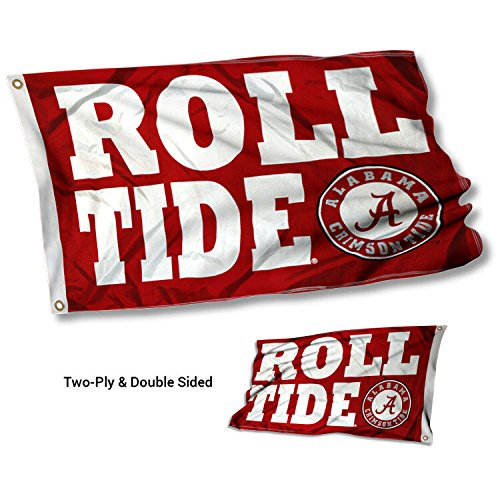 Cheap College Flags and Banners Co. Alabama Crimson Tide ROLL Tide Double Sided Flag